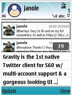 Twitter Gravity for Symbian phones