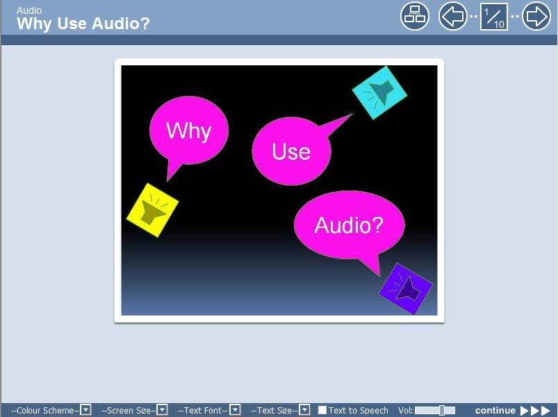 A link to the Why Use Audio? learning object