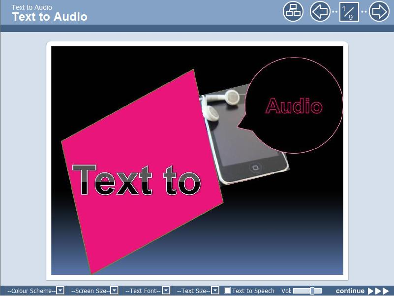 Link to text to audio learning object