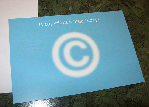 Fuzzy copyright sympbol with caption - 'Is copyright a little fuzzy?'